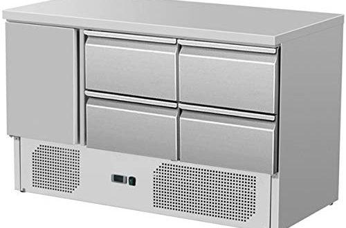 ZORRO Kuehltisch ZS 903 4D 1 Tuer 500x330 - ZORRO - Kühltisch ZS 903 4D - 1 Tür - 4 Schubladen - Gastro Saladette mit Arbeitsfläche - R600A - Digitales Thermostat
