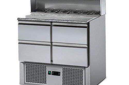 Saladette/Pizzakühltisch ECO - 0,9 x 0,7 m - mit 4 Schubladen 1/2